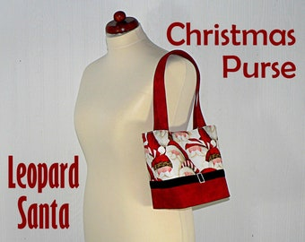 Leopard Santa Christmas Purse with velvet belt and rhinestone buckle, Cute Santa Bag with interior divided pockets, made to order