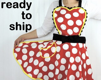 Retro 50s Circle Skirt Apron with heart-shaped bib, flirty pin up apron in Minnie Dot fabric, party hostess apron or cosplay-- ready to ship