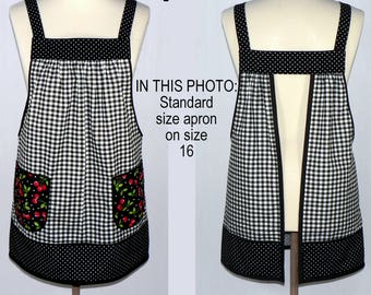 Cherries and Black Gingham Pinafore with no ties, relaxed fit smock with pockets, retro farmhouse kitchen apron made-to-order XS - Plus