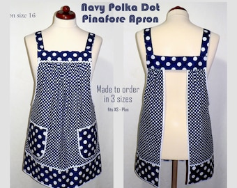 Navy Polka Dot Pinafore Apron with no ties, Relaxed Fit Farmhouse Smock with pockets, comfortable all day apron, made-to-order XS- Plus Size