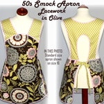 Retro 50s Smock (Lacework in Olive) comfortable relaxed fit apron (H back style doesn't touch neck) 4 size options / custom pocket options
