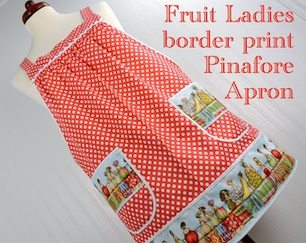 Fruit Ladies Border-Print Pinafore with no ties, relaxed fit smock with pockets, silly beach theme novelty apron, swimsuit cover-up, XS-Plus