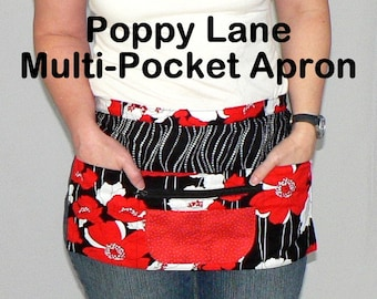 Poppy Lane 6 Pocket Teacher / Utility Apron- for vendors, crafting, or the classroom, 2 sizes made to order