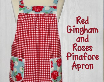 Red Gingham   Cheeky Roses Pinafore Apron with no ties fb04fa69c