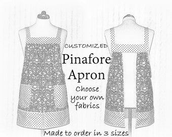 Customized Pinafore Apron (choose your own fabrics) relaxed fit smock with pockets, made-to-order XS to Plus Sizes
