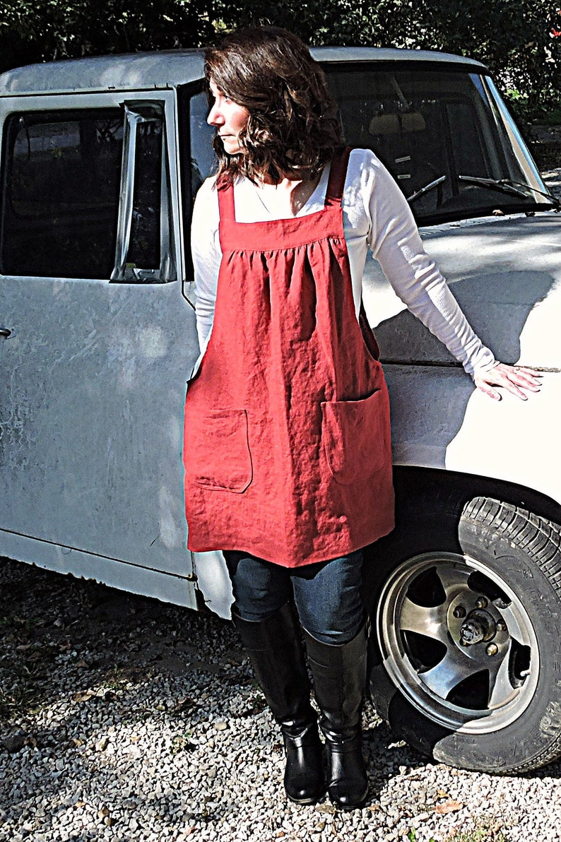 Dark Red Washed Linen Pinafore Apron with no ties 100% flax image 0