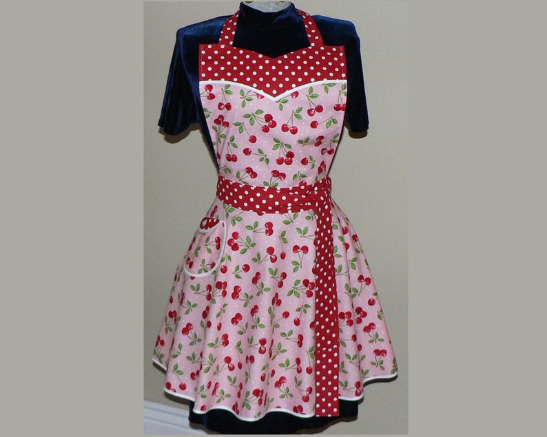 Pink Cherry Dot Twirly Skirt Apron sweetheart neckline image 0
