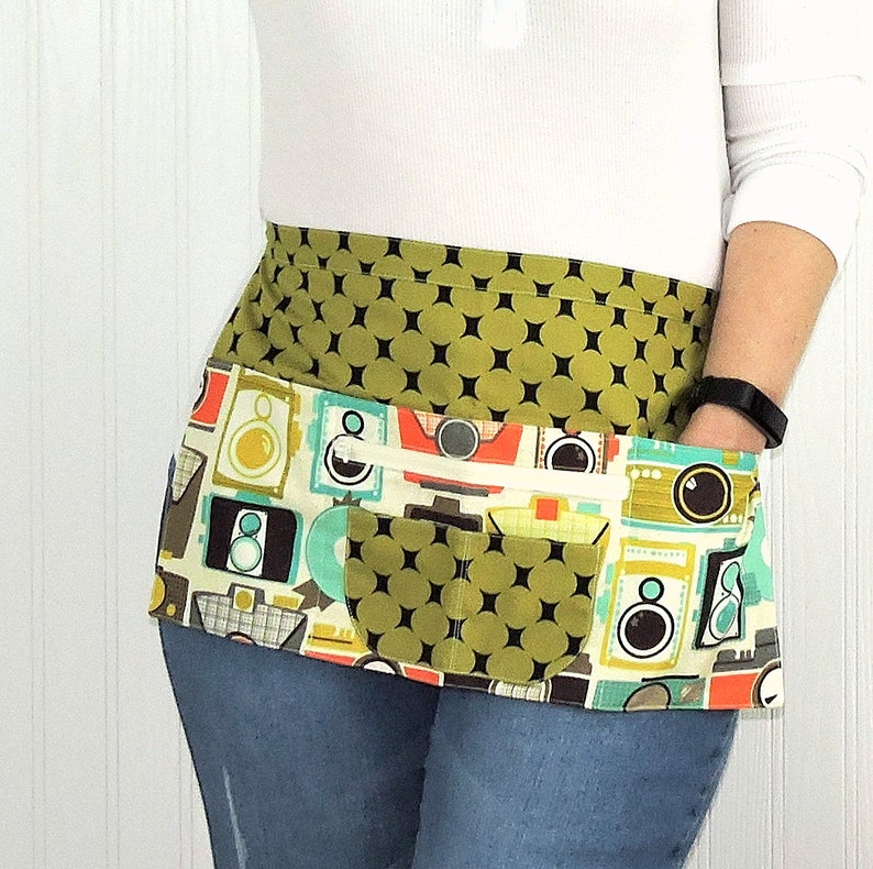 Mid Century Modern Cameras half apron with 6 pockets for image 0