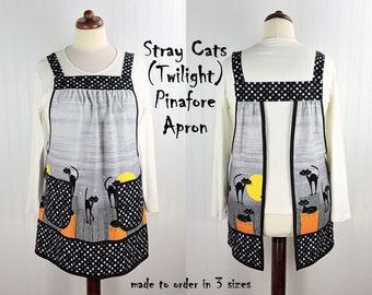 Stray Cats (Twilight) Pinafore Apron with no ties, relaxed fit smock with pockets, cat lover apron LAST ONE made to order