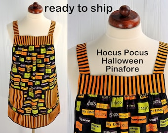 Hocus Pocus Halloween Pinafore Apron with no ties, relaxed fit smock with pockets, Trick or Treat apron ready to ship ASAP