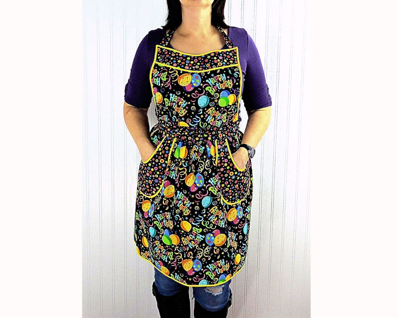 Birthday Party Vintage 40s Style Gathered Skirt Apron with image 0