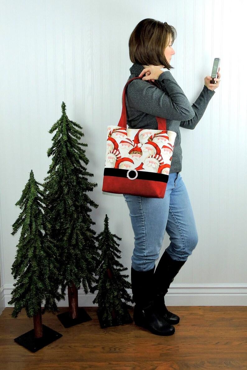 Santa Claus Tote Holiday Shoulder Bag  velvet belt  image 0