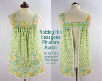 Notting Hill Hexagons Pinafore with no ties, relaxed fit smock with pockets, hostess apron in canary and aquamarine, 3 sizes made to order