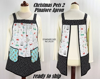 Christmas Pets 2 Pinafore with no ties, relaxed fit smock with pockets, holiday sweaters on pet dogs/cats/fish/birds, OOAK ready to ship now