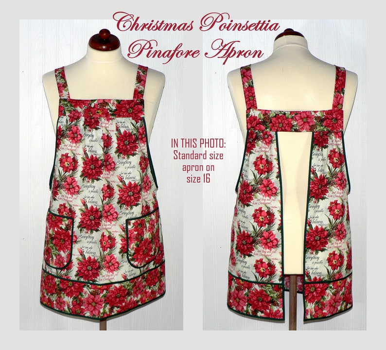 Christmas Poinsettia Pinafore with no ties relaxed fit smock STANDARD fit L/XL/2X
