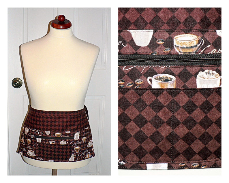 Coffee Time multi-pocket apron with secure zipper money image 0
