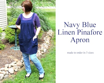 Navy Blue Linen Pinafore Apron with no ties, Washed Linen Relaxed Fit Smock with Pockets, linen tunic apron made-to-order in XS - Plus Size