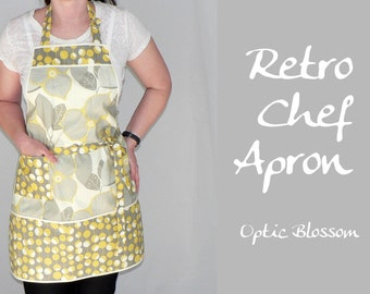 Optic Blossom Retro Chef Apron with pocket makes a pretty hostess apron, 2021 colors of the year compliments your retro kitchen decor
