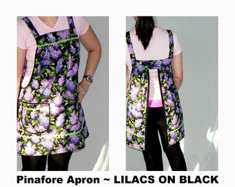 Lilacs on Black Pinafore Apron with no ties, relaxed fit smock with pockets, farmhouse apron, LIMITED QTY made to order XS-Plus Sizes