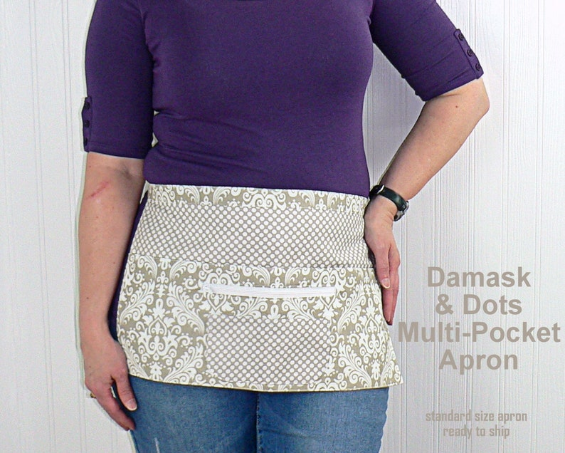 Damask & Dots in mushroom gray multi-pocket apron with image 0