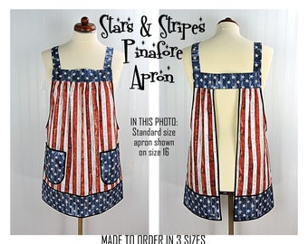 Stars and Stripes Pinafore Apron with no ties, patriotic flag smock apron with pockets made-to-order XS - Plus Sizes, 4th of July apron