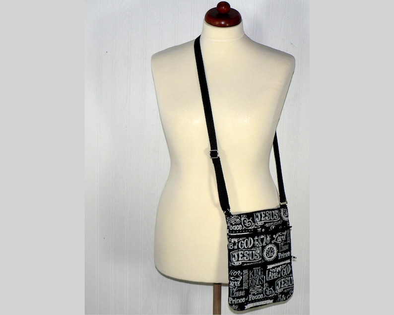 SALE Black Crossbody Bag with 3 zippers 8.5 X image 0