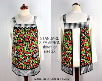 Strawberry Patch Pinafore (with Black Gingham accents) has no ties, relaxed fit smock apron with pockets, made to order XS - Plus sizes