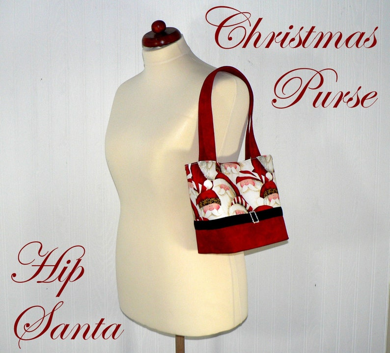 Christmas Purse Hip Santa Claus with leopard trim hat with image 0