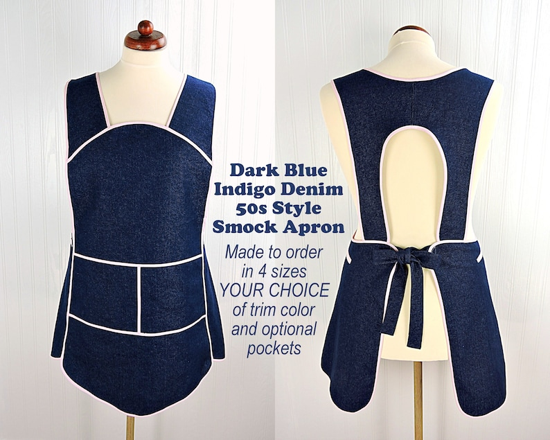 Dark Indigo Denim Retro 50s Smock relaxed fit without neck image 0