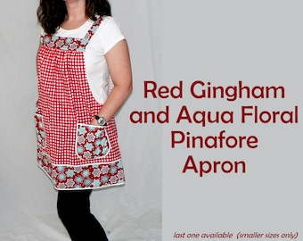 Red Gingham and Aqua Floral Pinafore with no ties, relaxed fit smock apron with pockets, LAST one made to order in (XS/S/M) or (L/XL/2X)