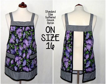 Lilacs & Gingham Classic Pinafore Apron with no ties, relaxed fit smock with pockets, OOP fabric limited availability, made to order XS - 5X