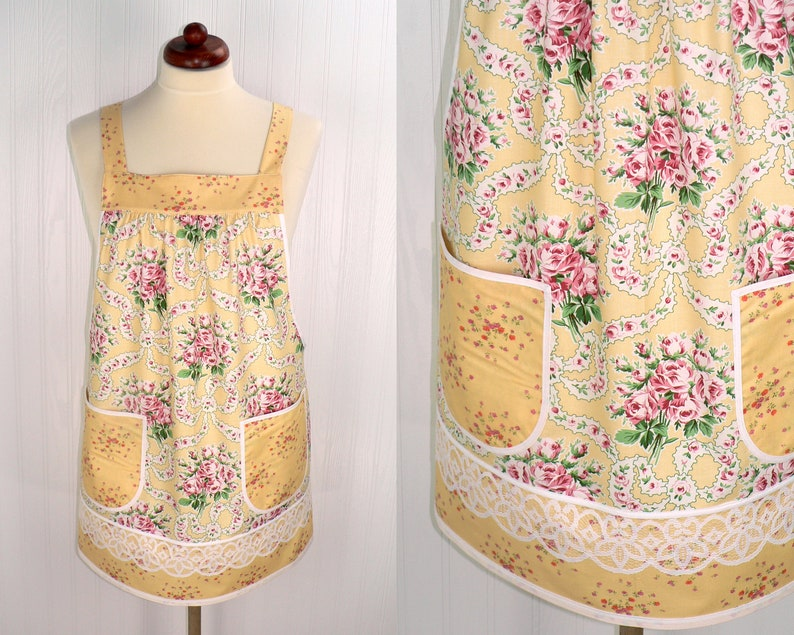 Yellow Ribbon Bouquet Pinafore with no ties relaxed fit smock image 0