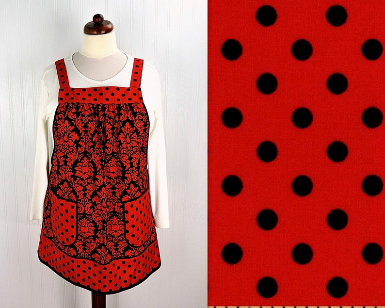 Valentine Damask & Dots Pinafore Apron with no ties relaxed image 0