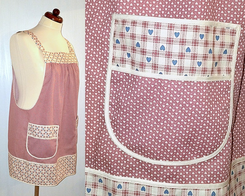 Dusty Rose Calico Hearts Pinafore with no ties relaxed fit image 0