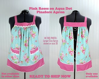 Pink Roses on Aqua Dot Pinafore Apron with no ties, relaxed fit smock apron with pockets fits 3X-4X-5X, ready to ship