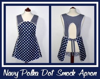 Navy Blue Polka Dot Retro 50s Smock, relaxed fit H-back apron (no ties at neck) XS to Plus Size made to order with customized pocket options