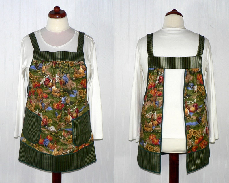 Autumn Farm Pinafore with no ties relaxed fit smock with image 0