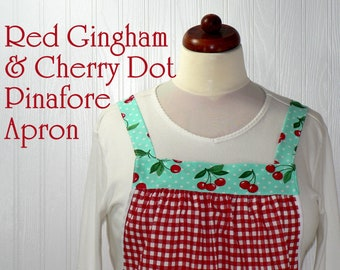 Red Check and Aqua Cherry Dot Pinafore with no ties, relaxed fit smock with pockets, turquoise and red retro baking apron XS- Plus Sizes