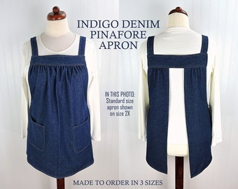 Indigo Blue Jean Pinafore with no ties, relaxed fit denim apron, very sturdy artist smock with pockets, made-to-order XS -Plus Size