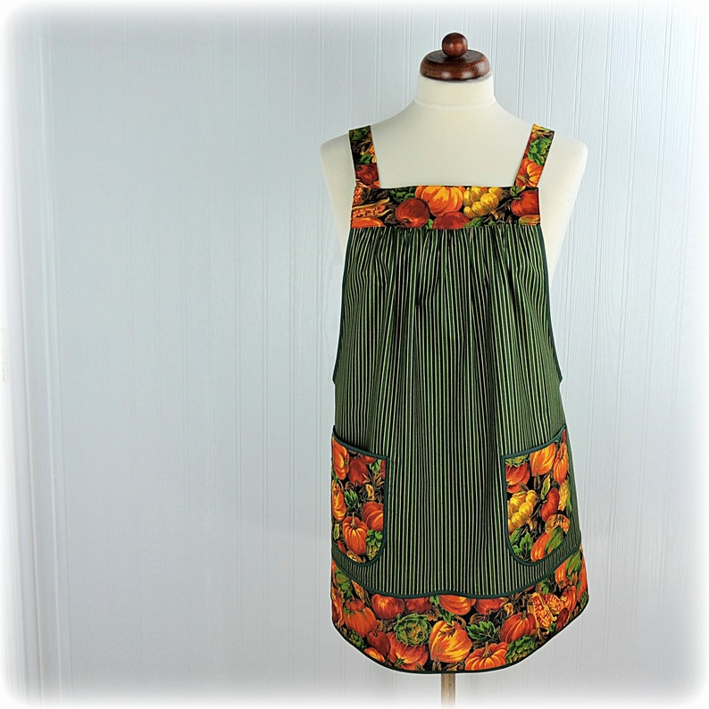Last Bountiful Harvest Pinafore Apron with no ties image 0