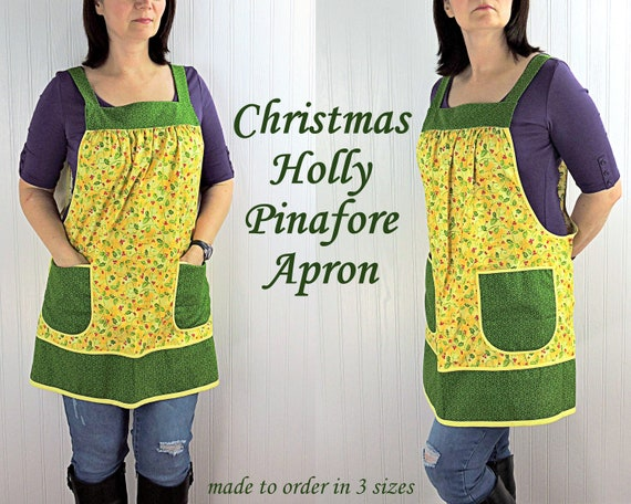 Lulu Roses on Green Pinafore Apron with no ties ready to ship now relaxed fit smock apron with pockets
