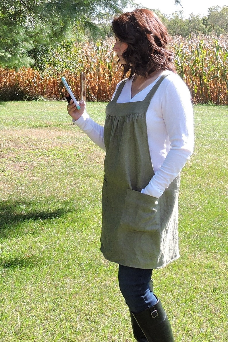 Olive Green Washed Linen Pinafore Apron with no ties 100% image 0