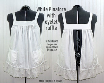 White Pinafore Apron with eyelet ruffle, relaxed fit smock with pockets, cosplay apron, 3 sizes made to order with Kona cotton fabric