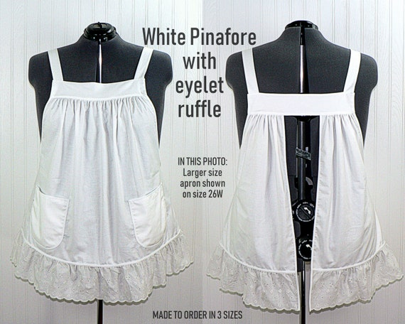 Includes Smock Only. White Pinafore smock for kids one size fits all