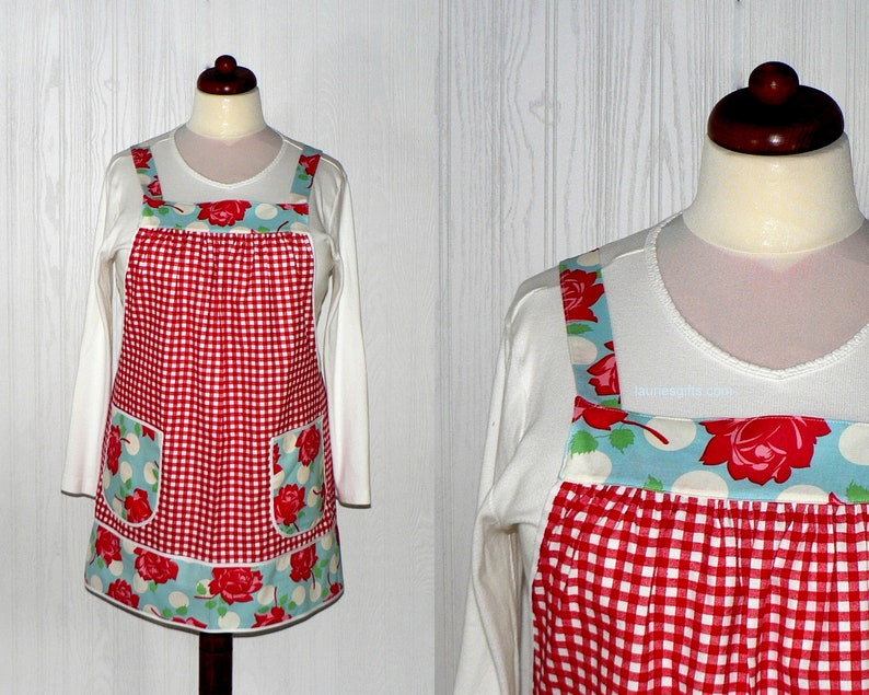 Red Gingham & Roses Pinafore Apron with no ties relaxed fit image 0