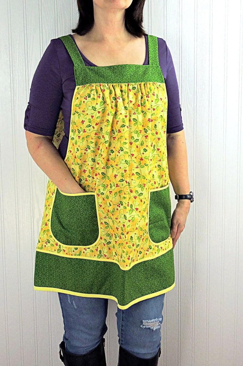Christmas Holly Pinafore Apron with no ties relaxed fit smock image 0