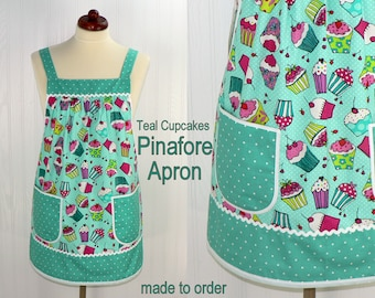 Teal Cupcakes Pinafore Apron with no ties, Relaxed Fit Smock with pockets, comfortable all day apron, made-to-order XS- Plus