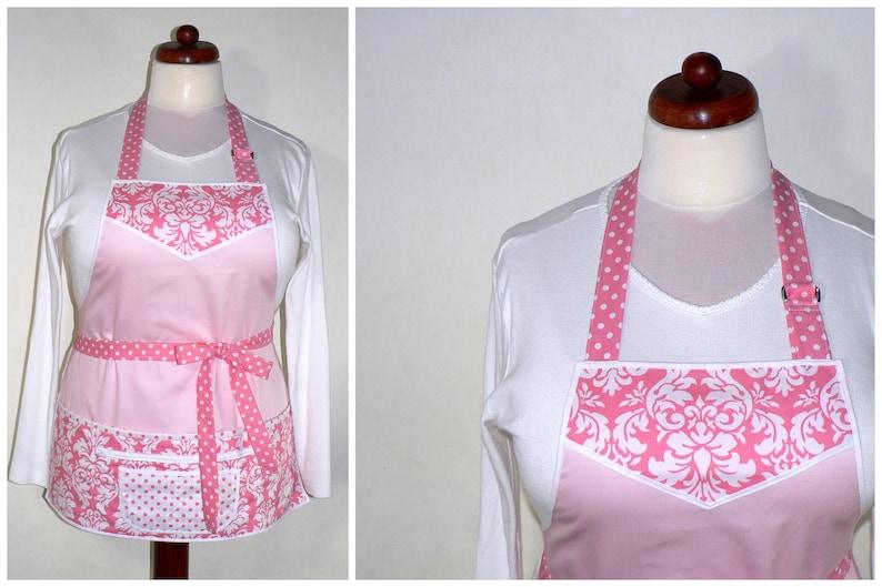 Full Length Pink Damask Multi-Pocket Apron includes zipper image 0