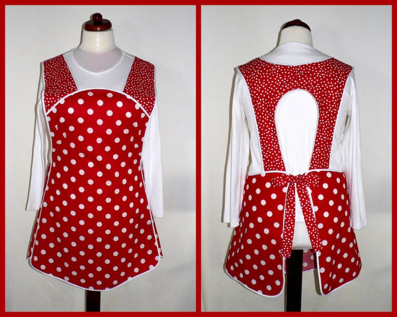 Red and White Polka Dot 50s Smock relaxed fit apron without image 0