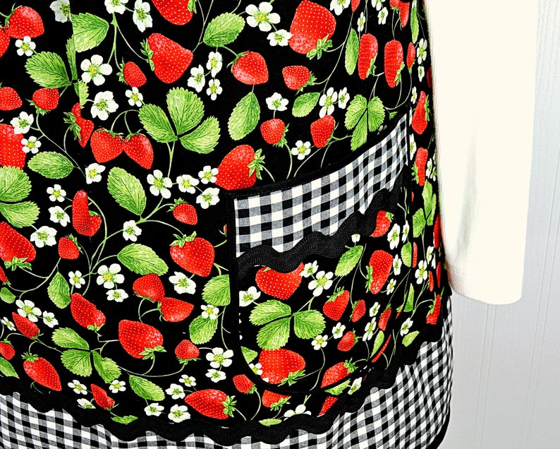 Black Gingham Strawberry Patch Pinafore with no ties relaxed image 0